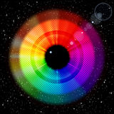 Starry sky with rainbow iris and pupil. Royalty Free Stock Photography