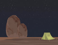 Starry sky and Rocks. Camping Royalty Free Stock Photo