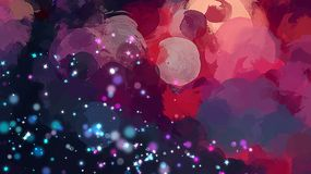 Starry sky round brush strokes background. Royalty Free Stock Images