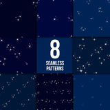 Starry sky seamless pattern set Stock Images