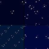 Starry sky seamless pattern set Stock Image