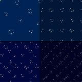 Starry sky seamless pattern set Stock Photos