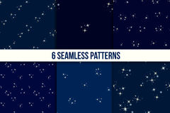 Starry sky seamless pattern set Royalty Free Stock Images