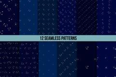 Starry sky seamless pattern set Stock Photography