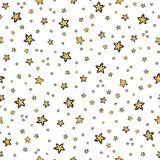 Starry Sky Seamless Vector Pattern, Hand Drawn Illustration Yellow stock illustration