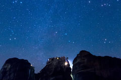 Starry sky seen from Meteora, Greece. With star filter Stock Photo