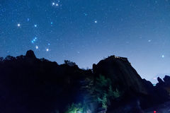 Starry sky seen from Meteora, Greece. With star filter Stock Images