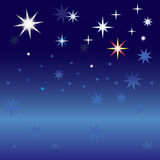 Starry sky. Several large bright stars and many small stars against the dark night sky Royalty Free Stock Images
