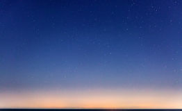 Starry Sky and the Sicily Coastline. Sicily as seen on the horizon from Malta, on a clear and starry night stock images
