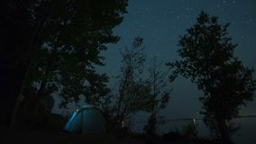 Starry sky timelapse. 5K Starry sky timelapse with tent on the coast of a river stock footage
