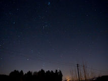 Starry Sky with trees and power lines. Starry Rural Sky with trees and power lines Stock Photo
