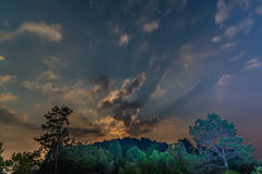 Starry sky view during moonrise Stock Image