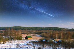 Starry sky in winter. Royalty Free Stock Image