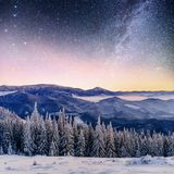 Starry sky in winter snowy night. fantastic milky way in the New Year`s Eve. In anticipation of the holiday. Dramatic. Scene. Carpathian. Ukraine royalty free stock photo