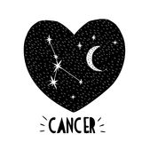 Cancer Symbol. Hand Drawn Zodiac Vector Illustration. Starry Background. Black and White Childish Style Design. Black Heart. royalty free illustration