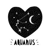 Aquarius Symbol. Hand Drawn Zodiac Vector Illustration. Starry Background. Black and White Childish Style Design. Black Heart. royalty free illustration