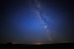 Starry skybakgrund för natt Arkivfoto
