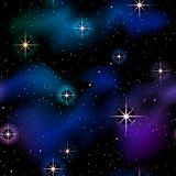 Deep Blue Space seamless pattern. Starry space background with sparkling stars and nebulae. Graphics are grouped and in several layers for easy editing. The file stock illustration