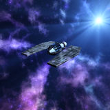 Starry space 3d scene with spaceship Stock Photography