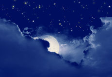 Starry,starry night. Clouds ,moon and stars Royalty Free Stock Photo