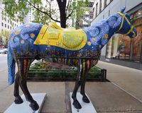 Starry Starry Night. This is a horse painted in the theme of a Van Gogh's painting.  It is part of a public art display to honor fallen Chicago policemen and Royalty Free Stock Photography