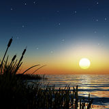 Starry sunset. 3d render of a starry sunset in a dreamy lagoon royalty free stock photo