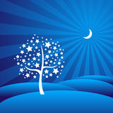 Starry Tree in a Moon-lit Dreamy Landscape. Abstract illustration of a tree made of stars against a dreamy blue background vector illustration
