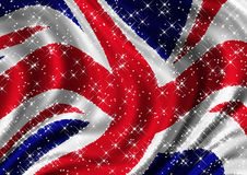 Starry Union Jack Billowing in Wind. The Flag of the United Kingdom with tight crop billowing in the wind Stock Photo