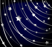 Starry vector background. Starry background with silver lines and stars Stock Photography