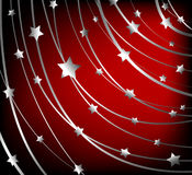 Starry vector background. Abstract background, silver stars on red stock illustration