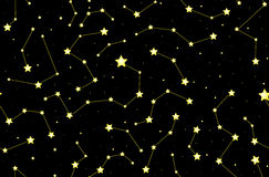Starry vector decorative seamless pattern with shining stars and constellations on the night sky Royalty Free Stock Photography