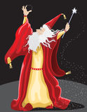 Starry Wizard. Vector illustration of a wizard with a wand of stars gazing up in a red fancy robe Royalty Free Stock Images