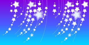 Stars. Illustration with many-coloured stars in blue background Stock Images