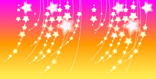 Stars. Illustration with many-coloured stars in red background Stock Photo