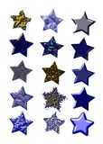 Set of colorful isolated stars in different materi Stock Images