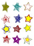 set of colorful isolated stars in different shapes Royalty Free Stock Image