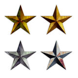 Stars. Four same textured star shapes with variant color Stock Photos