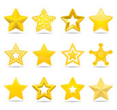 Stars. Twelve different detailed star icons Stock Image