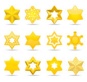 Stars. Twelve different six pointed star icons Stock Image