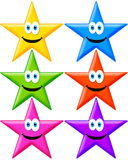 Stars. Funny and happy stars in several bright colors Royalty Free Stock Images