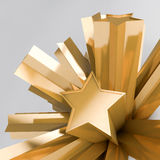 Stars. 3d render of extruded golden stars Royalty Free Stock Photos