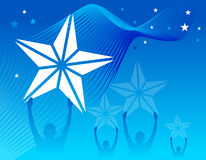 Stars. Catch the stars in blue wave background Stock Photos