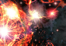 Stars. A a red and yellow starfield in 3d Stock Images