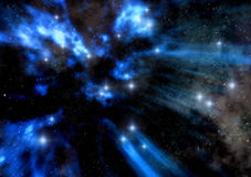 Stars. A blue starfield in 3d Stock Photo