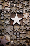 Stars. A random arrangement of letterpress stars with narrow depth of field. Part of a series of letterpress backgrounds