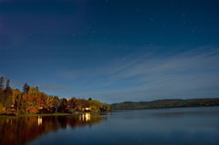 Stars. A calm lake at night with stars in the sky Royalty Free Stock Images