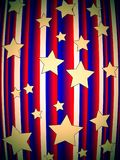 Stars. Abstract american blue-red background with gold stars suitable as a background or wrapper Royalty Free Stock Image
