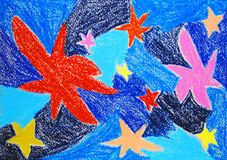 Stars. Abstract color oil pastel painting. Stock Photos
