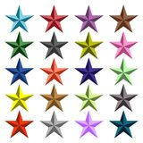Stars all colors. Design a star image with a variation of the color plot in the middle of the pattern Stock Photography