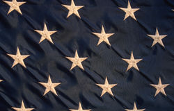 Stars on American Flag. Close-up of stars on American flag against blue background Royalty Free Stock Photography